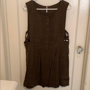 Free people green/brown cargo material dress